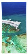 Aerial View Of The Underwater Channel. Mauritius Beach Towel