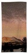 Aurora Borealis And Milky Way Beach Towel