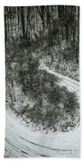 Bad Road Conditions While Driving In Winter Beach Towel