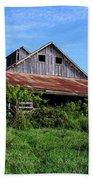 Barn In The Blue Sky Beach Towel