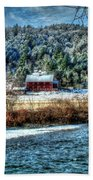 Vermont Farm By The River Beach Towel