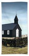 Black Church Of Budir, Iceland Beach Towel