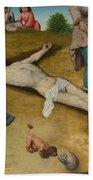 Christ Nailed To The Cross Beach Towel
