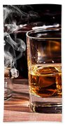 Cigar And Alcohol Collection Beach Towel