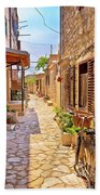 Colorful Mediterranean Stone Street Of Prvic Island Beach Towel