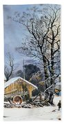 Currier & Ives Winter Scene Beach Towel