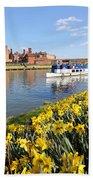 Daffodils Beside The Thames At Hampton Court London Uk Beach Towel