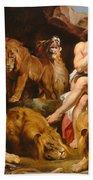 Daniel In The Lions' Den Beach Towel