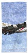 Emirates A380 Airbus Watercolour Beach Sheet