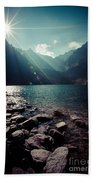 Green Water Mountain Lake Morskie Oko, Tatra Mountains, Poland Beach Towel