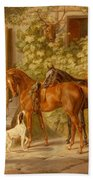 Horses At The Porch Beach Towel