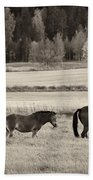 Horses Of The Fall  Bw Beach Towel