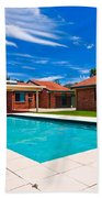 House And Pool Beach Towel