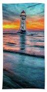 Light House Sunset Beach Towel