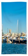 Miami Florida City Skyline Morning With Blue Sky Beach Towel