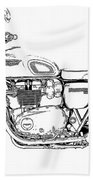 Motorcycle Art, Black And White Beach Towel