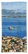 Nafplio Town And Bourtzi Fortress Beach Towel