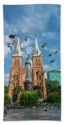 Notre-dame Cathedral Basilica Of Saigon, Officially Cathedral Basilica Of Our Lady Of The Immaculate Beach Towel