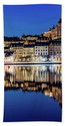 Perfect Sodermalm And Mariaberget Blue Hour Reflection Beach Sheet
