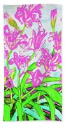 Pink Daily Lilies Beach Towel