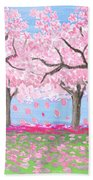 Pink Garden, Oil Painting Beach Towel