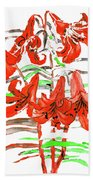 Red Lilies, Hand Drawn Painting Beach Towel