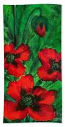 3 Red Poppies Beach Towel