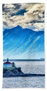 Remote Lighthouse Island Standing In The Middle Of Mud Bay Alask Beach Towel