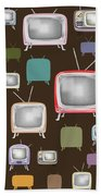 retro TV pattern  Beach Towel