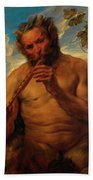 Satyr Playing The Pipe Beach Towel