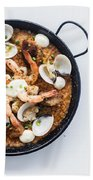 Seafood And Rice Paella Traditional Spanish Food Beach Towel