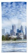 Snow And Ice Covered City And Streets Of Charlotte Nc Usa Beach Towel