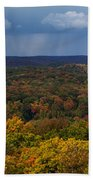 Storm Clouds Over Fall Nature Scenery Beach Towel