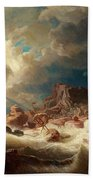 Stormy Sea With Ship Wreck Beach Towel