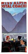 Switzerland Vintage Travel Poster Restored Beach Towel