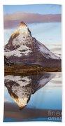 The Matterhorn Mountain In Switzerland Beach Towel