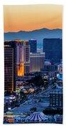 the Strip at night, Las Vegas Beach Towel
