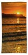 Vibrant Orange Sunrise Seascape Beach Sheet
