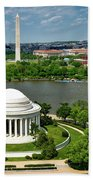 View Of The Jefferson Memorial And Washington Monument Beach Towel