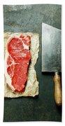 Vintage Cleaver And Raw Beef Steak Beach Towel