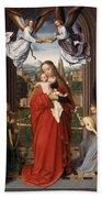 Virgin And Child With Four Angels Beach Towel