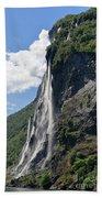 Waterfall In Geiranger Norway Beach Towel