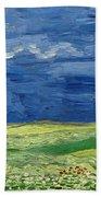 Wheat Field Under Thunderclouds Beach Towel