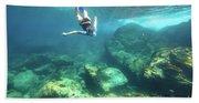 Woman Free Diving Beach Towel