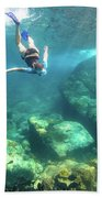Woman Free Diving Beach Towel