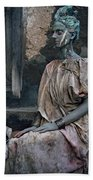 Woman In Bronze Statue Look With Patina Body Paint Beach Towel