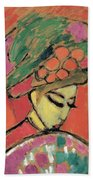 Young Girl With A Flowered Hat Beach Towel