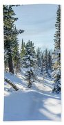 Amazing Landscape With Frozen Snow-covered Trees In Winter Morning  Beach Towel