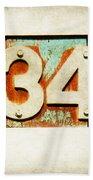 34 On Weathered Aqua Beach Towel