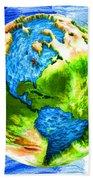 3d Render Of Planet Earth 11 Beach Towel